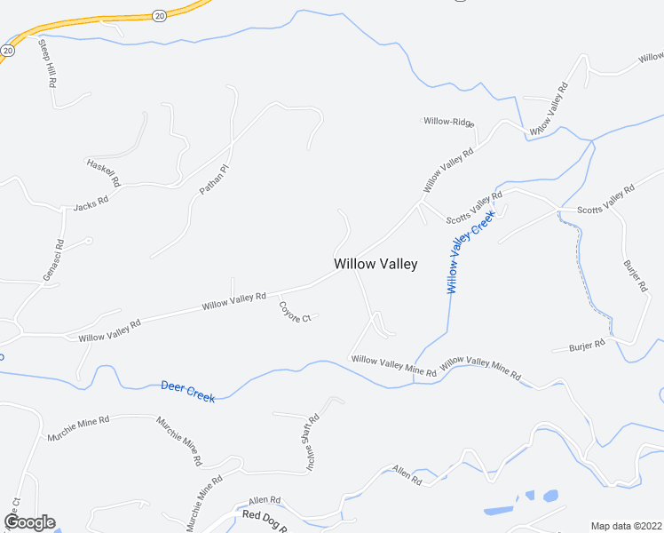 map of restaurants, bars, coffee shops, grocery stores, and more near 11766 Willow Valley Rd in Nevada City