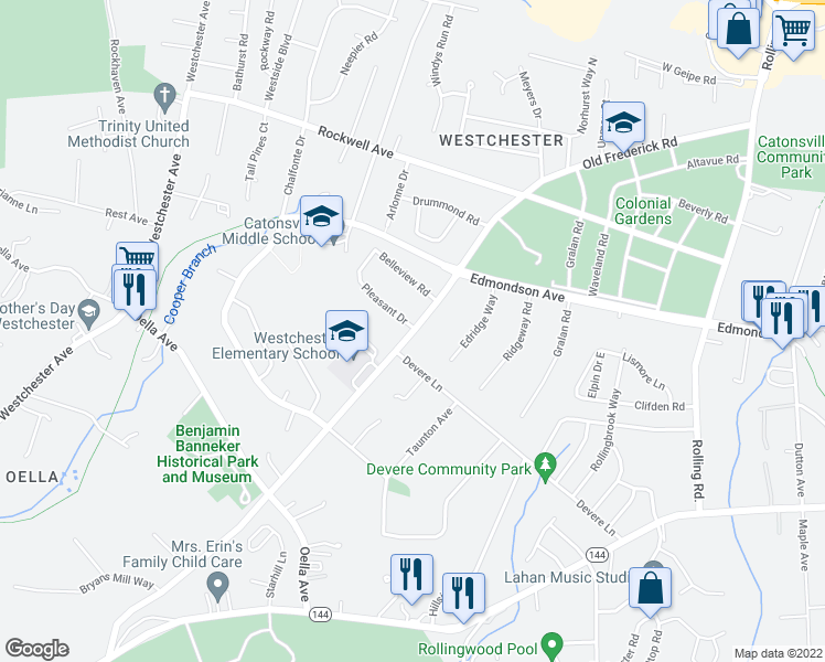 map of restaurants, bars, coffee shops, grocery stores, and more near Old Frederick Road in Catonsville