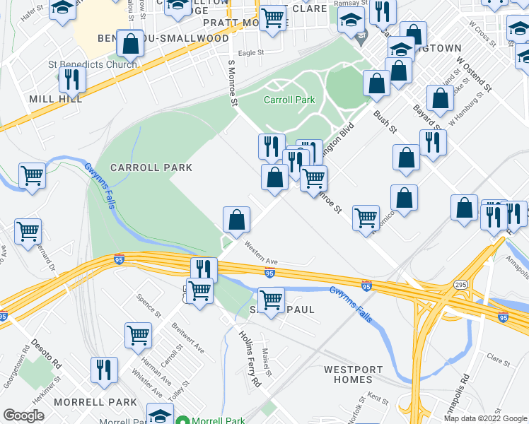 map of restaurants, bars, coffee shops, grocery stores, and more near Washington Boulevard in Baltimore