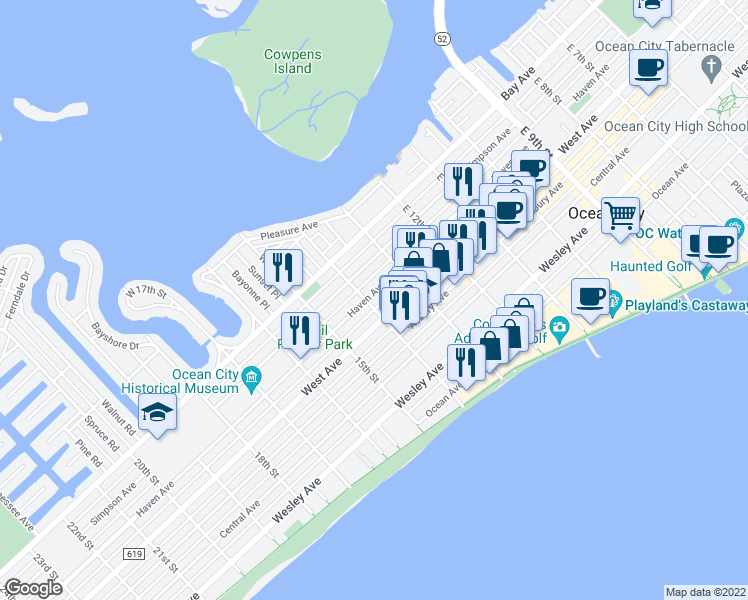 map of restaurants, bars, coffee shops, grocery stores, and more near 201 East 14th Street in Ocean City