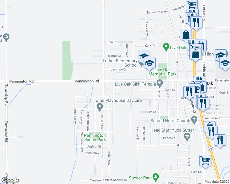 map of restaurants, bars, coffee shops, grocery stores, and more near 3171 Cole Ct in Live Oak
