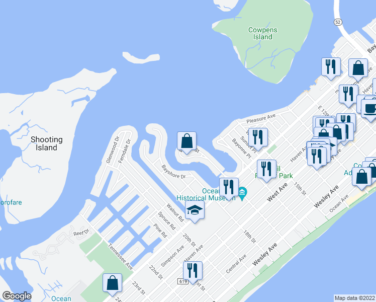 map of restaurants, bars, coffee shops, grocery stores, and more near 332 West 17th Street in Ocean City