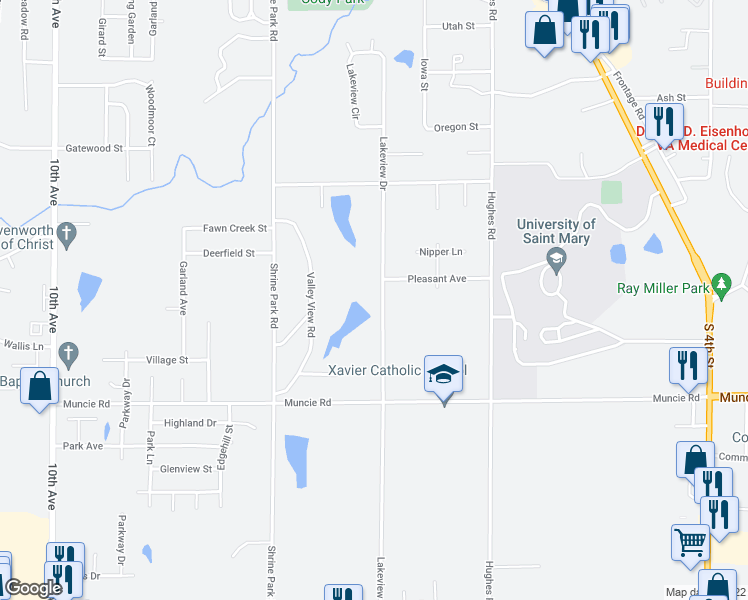 map of restaurants, bars, coffee shops, grocery stores, and more near 4108 Lakeview Drive in Leavenworth