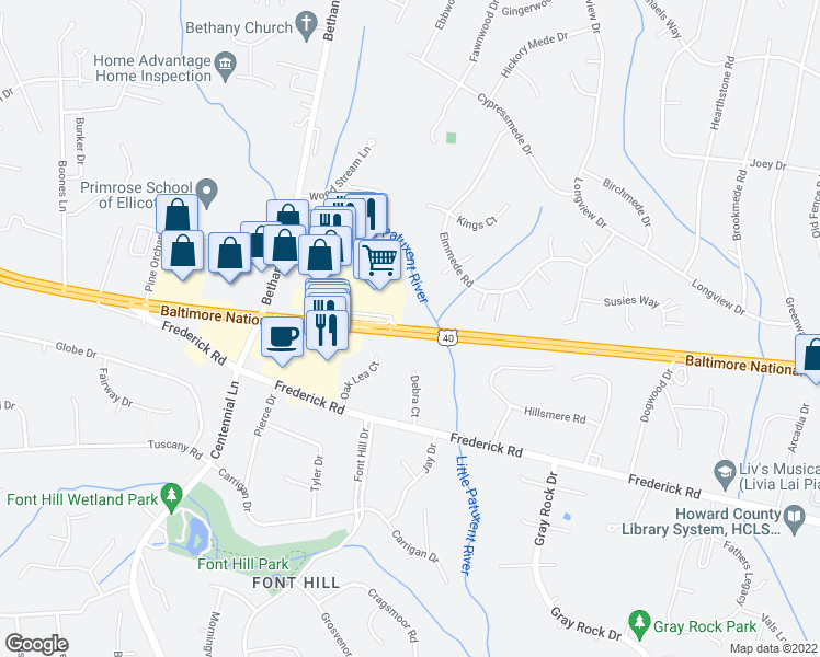map of restaurants, bars, coffee shops, grocery stores, and more near 10002-10014 Baltimore National Pike in Ellicott City