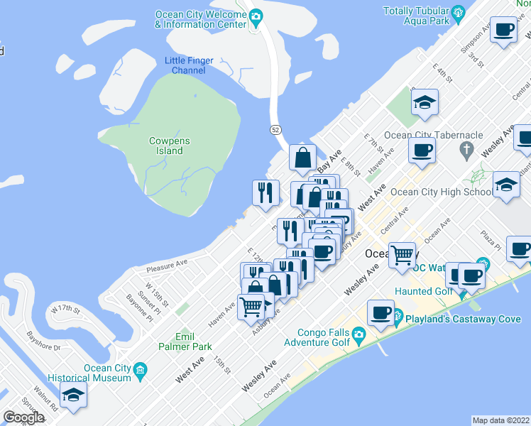 map of restaurants, bars, coffee shops, grocery stores, and more near 5 West 11th Street in Ocean City