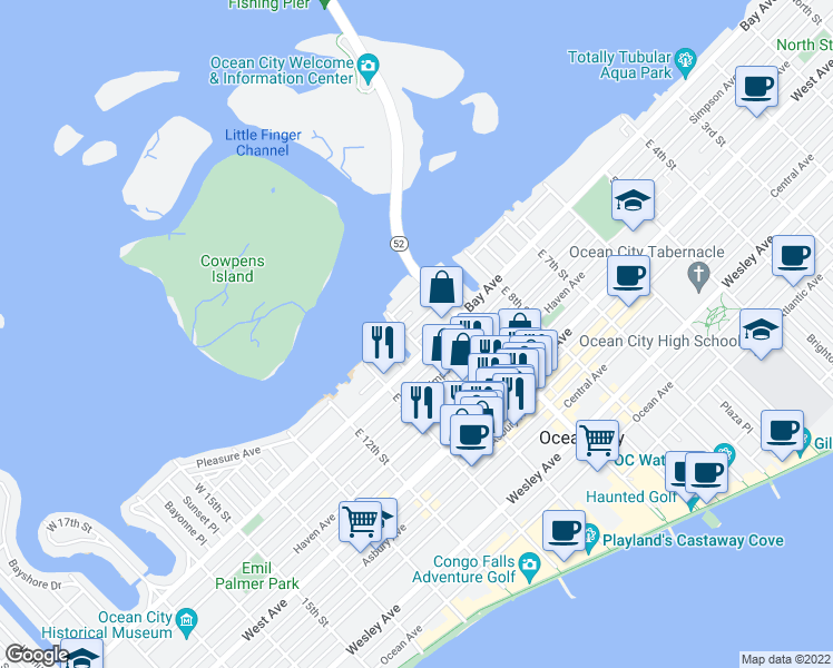 map of restaurants, bars, coffee shops, grocery stores, and more near 11 West 10th Street in Ocean City