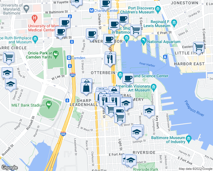 map of restaurants, bars, coffee shops, grocery stores, and more near 8-20 East Hughes Street in Baltimore
