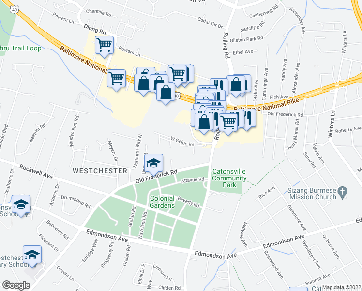 map of restaurants, bars, coffee shops, grocery stores, and more near 4-98 Winesap Court in Catonsville