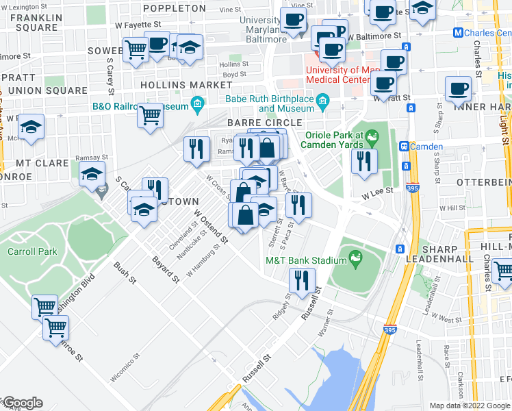map of restaurants, bars, coffee shops, grocery stores, and more near 1004 Scott Street in Baltimore