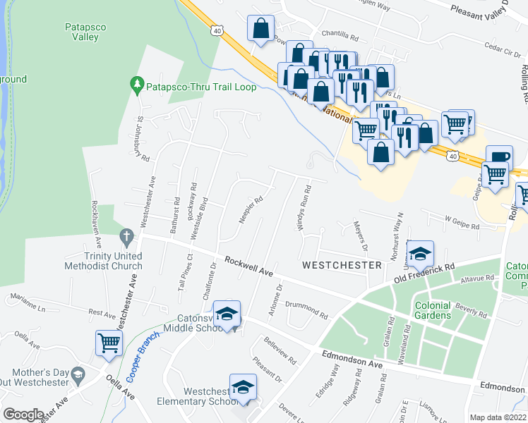 map of restaurants, bars, coffee shops, grocery stores, and more near 2200 Pleasant Villa Avenue in Catonsville