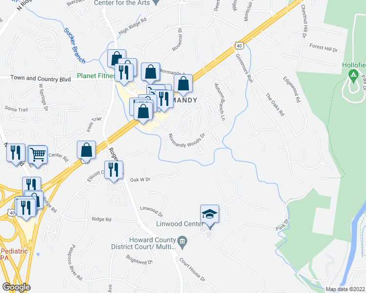 map of restaurants, bars, coffee shops, grocery stores, and more near 3182 Normandy Woods Drive in Ellicott City