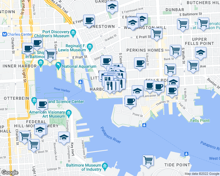 map of restaurants, bars, coffee shops, grocery stores, and more near 850 Aliceanna Street in Baltimore