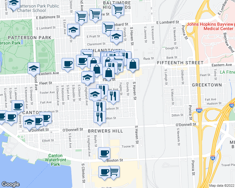 map of restaurants, bars, coffee shops, grocery stores, and more near 3817 Fait Avenue in Baltimore
