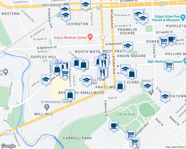 map of restaurants, bars, coffee shops, grocery stores, and more near 326 South Payson Street in Baltimore