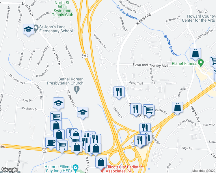 map of restaurants, bars, coffee shops, grocery stores, and more near 8910 Carls Court in Ellicott City