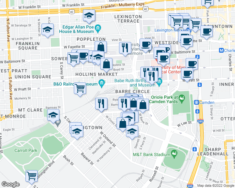 map of restaurants, bars, coffee shops, grocery stores, and more near Parkin St & McHenry St in Baltimore