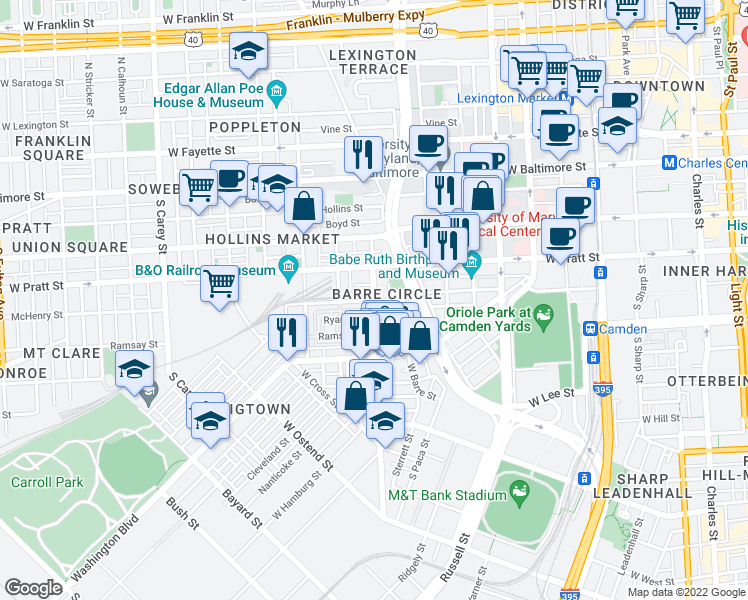map of restaurants, bars, coffee shops, grocery stores, and more near Scott St & McHenry St in Baltimore