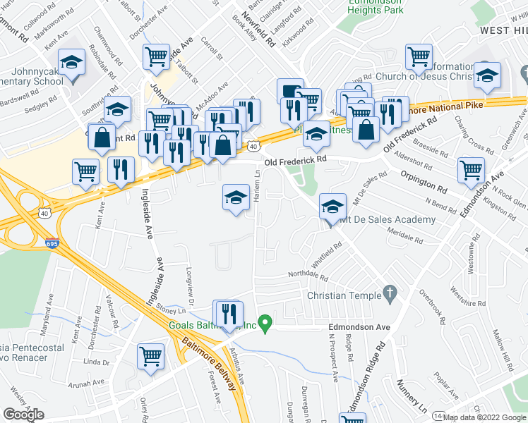 map of restaurants, bars, coffee shops, grocery stores, and more near 407 Cedar Run Place in Catonsville