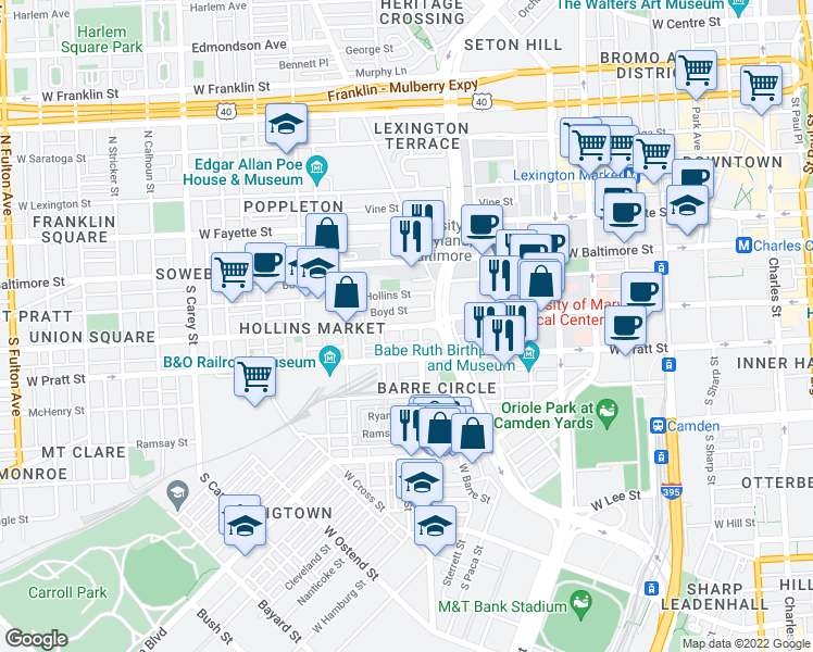 map of restaurants, bars, coffee shops, grocery stores, and more near 801 Lemmon Street in Baltimore
