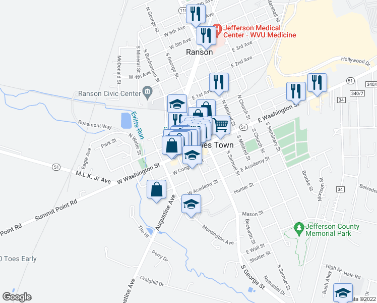 map of restaurants, bars, coffee shops, grocery stores, and more near 105 South Lawrence Street in Charles Town