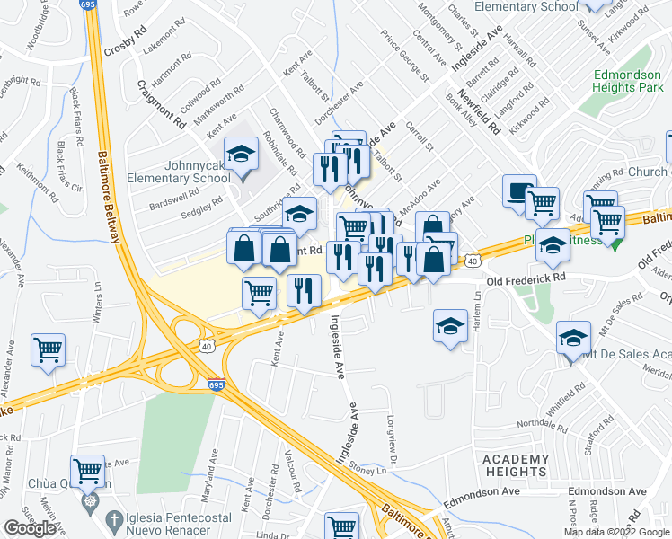 map of restaurants, bars, coffee shops, grocery stores, and more near 912-918 Ingleside Avenue in Catonsville