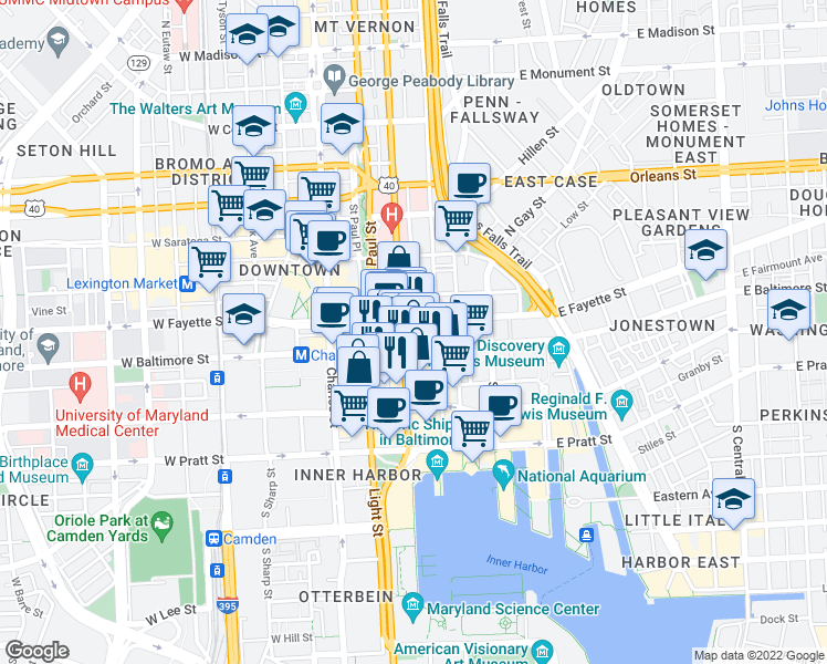 map of restaurants, bars, coffee shops, grocery stores, and more near 7 North Calvert Street in Baltimore