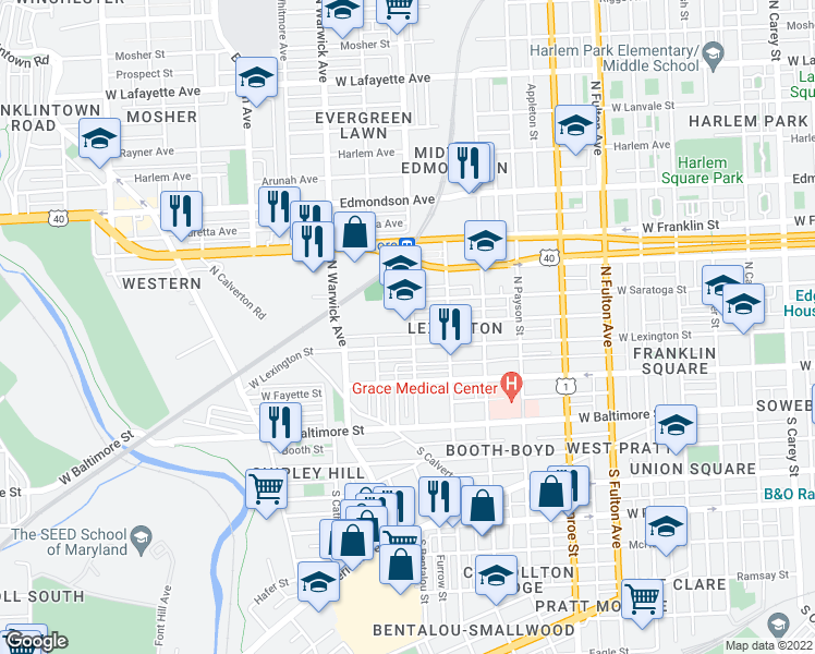 map of restaurants, bars, coffee shops, grocery stores, and more near 215-227 N Bentalou St in Baltimore