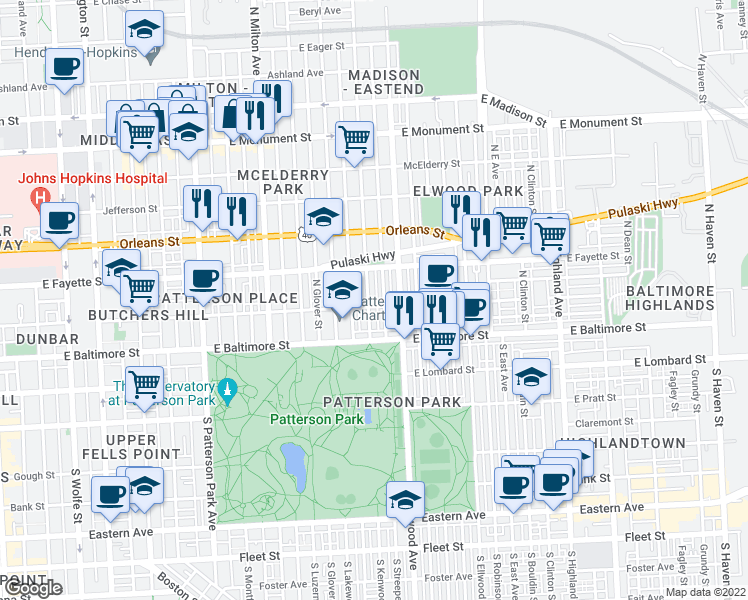 map of restaurants, bars, coffee shops, grocery stores, and more near 107 North Kenwood Avenue in Baltimore