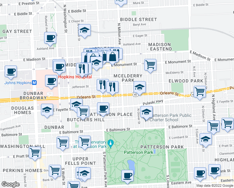 map of restaurants, bars, coffee shops, grocery stores, and more near 2419 Orleans Street in Baltimore