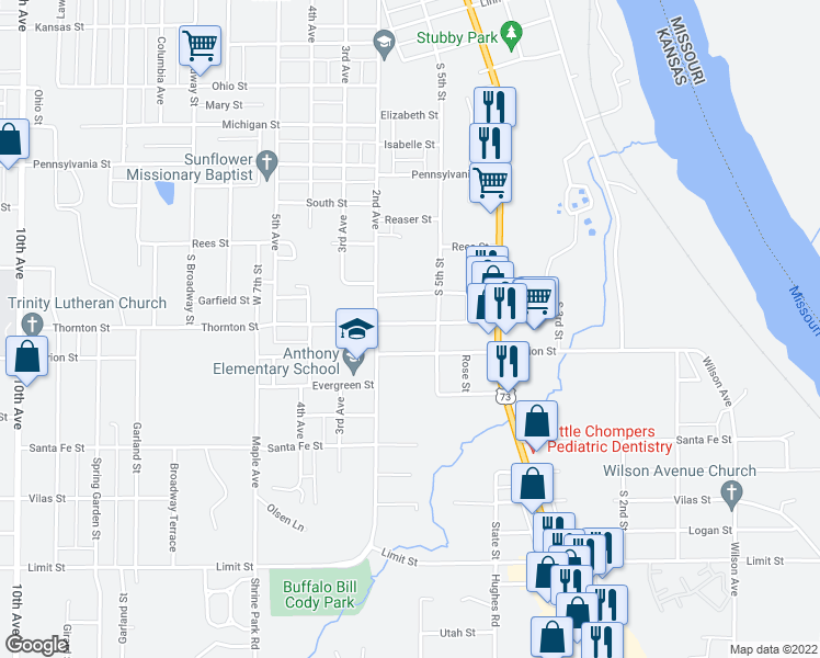 map of restaurants, bars, coffee shops, grocery stores, and more near 513 Thornton Street in Leavenworth