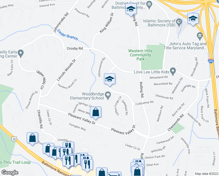 map of restaurants, bars, coffee shops, grocery stores, and more near 1410 Pleasant Valley Drive in Woodlawn
