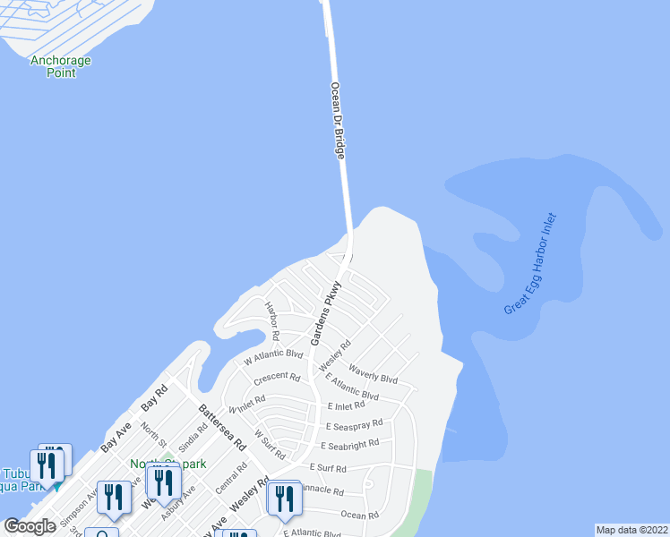 map of restaurants, bars, coffee shops, grocery stores, and more near 2 West Newcastle Road in Ocean City