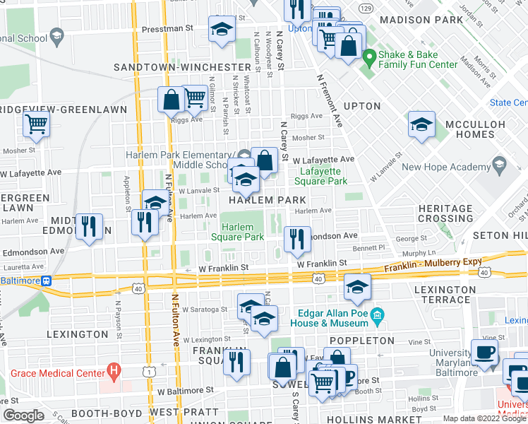 map of restaurants, bars, coffee shops, grocery stores, and more near 647 N Calhoun St in Baltimore