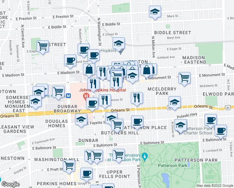 map of restaurants, bars, coffee shops, grocery stores, and more near 507 North Duncan Street in Baltimore
