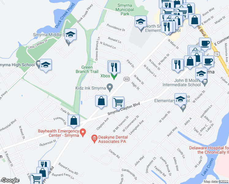 map of restaurants, bars, coffee shops, grocery stores, and more near 655 West Glenwood Avenue in Smyrna