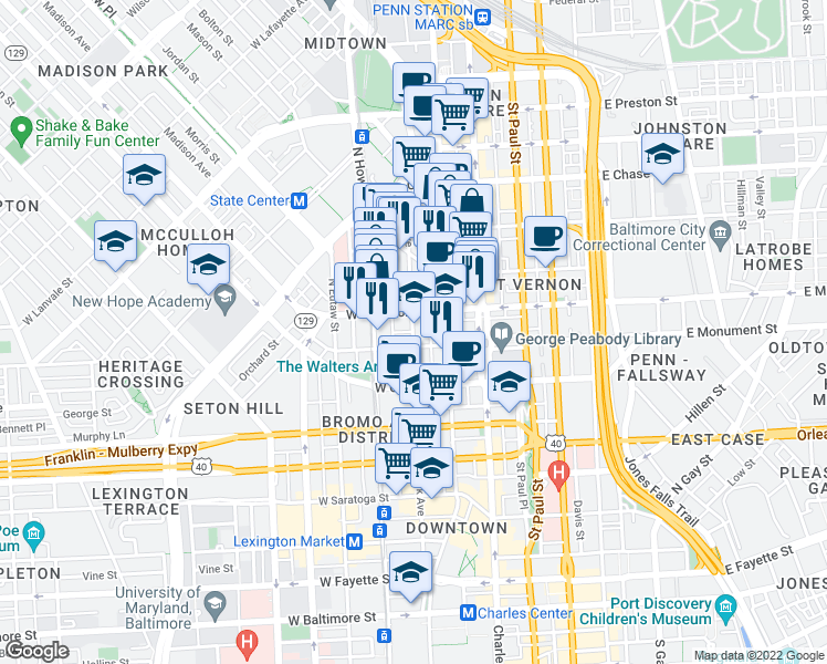 map of restaurants, bars, coffee shops, grocery stores, and more near 210 West Madison Street in Baltimore