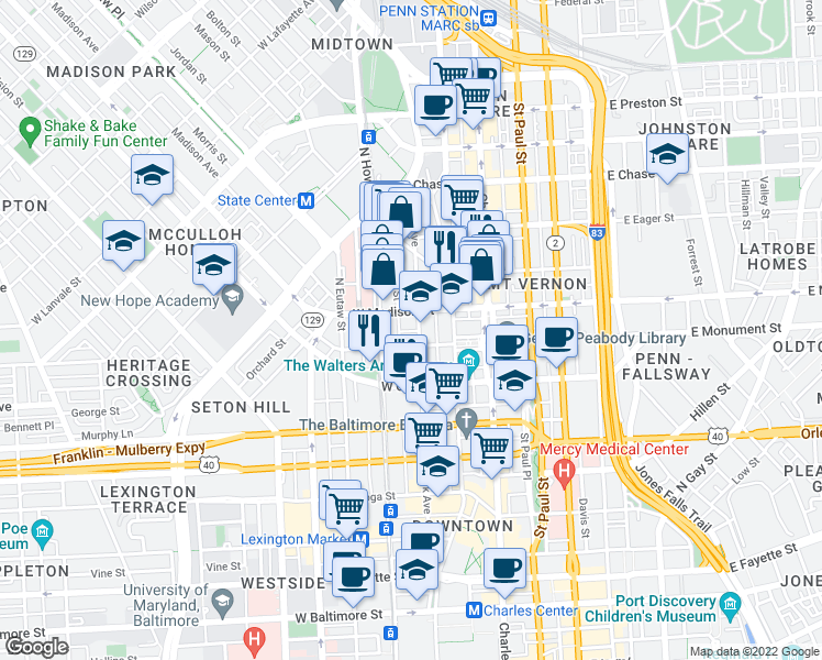 map of restaurants, bars, coffee shops, grocery stores, and more near 706 Park Avenue in Baltimore