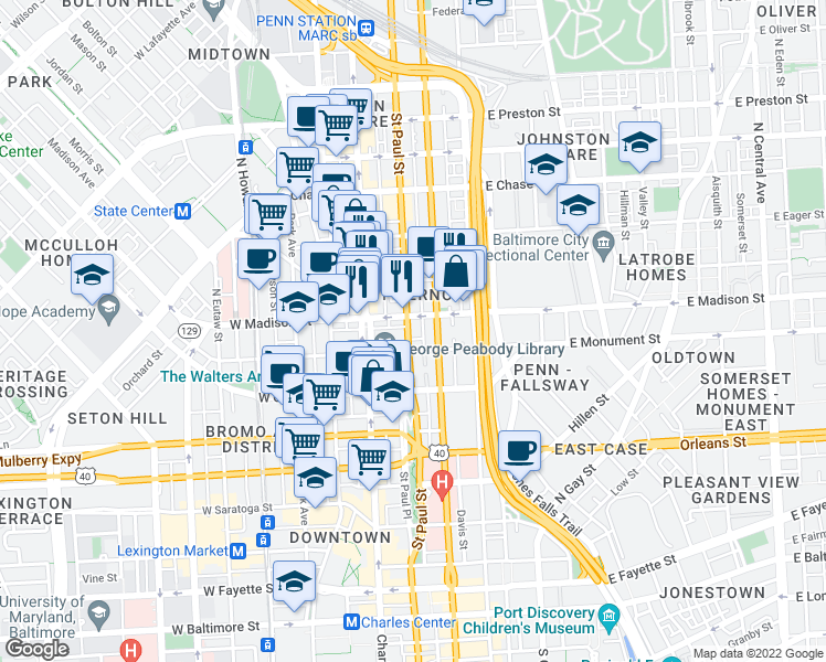 map of restaurants, bars, coffee shops, grocery stores, and more near 713 Saint Paul Street in Baltimore