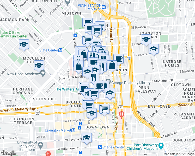 map of restaurants, bars, coffee shops, grocery stores, and more near 703 Cathedral Street in Baltimore