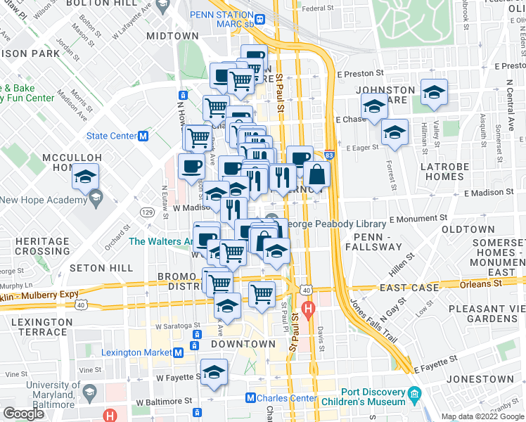 map of restaurants, bars, coffee shops, grocery stores, and more near 722 Washington Place in Baltimore