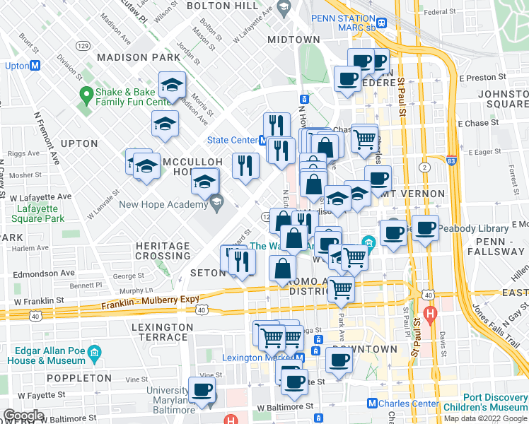 map of restaurants, bars, coffee shops, grocery stores, and more near McCulloh Street in Baltimore