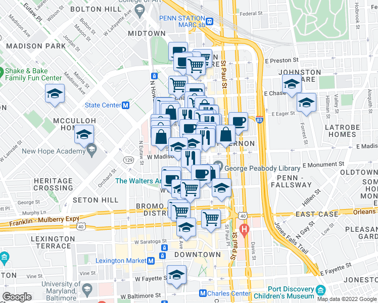 map of restaurants, bars, coffee shops, grocery stores, and more near 802 Cathedral Street in Baltimore