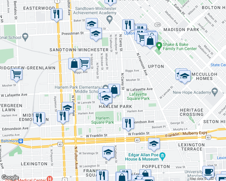 map of restaurants, bars, coffee shops, grocery stores, and more near 1323 West Lafayette Avenue in Baltimore
