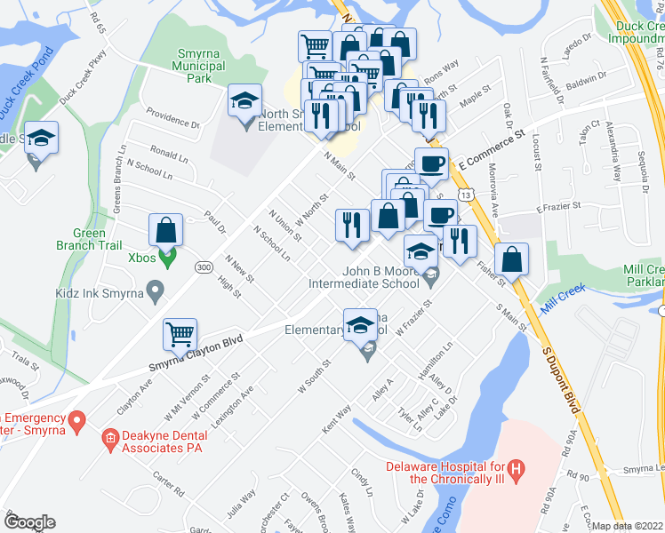 map of restaurants, bars, coffee shops, grocery stores, and more near 2-18 South Union Street in Smyrna