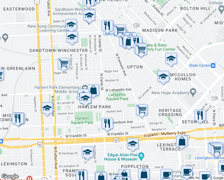 map of restaurants, bars, coffee shops, grocery stores, and more near West Lafayette Avenue in Baltimore