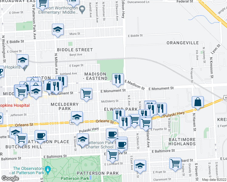 map of restaurants, bars, coffee shops, grocery stores, and more near 609 North Potomac Street in Baltimore