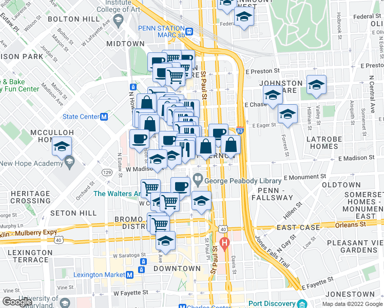 map of restaurants, bars, coffee shops, grocery stores, and more near 825 North Charles Street in Baltimore