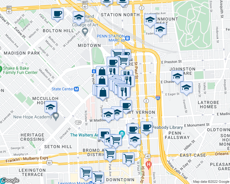 map of restaurants, bars, coffee shops, grocery stores, and more near 1017 Cathedral Street in Baltimore