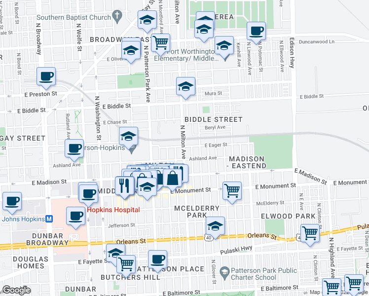 map of restaurants, bars, coffee shops, grocery stores, and more near 901 North Milton Avenue in Baltimore