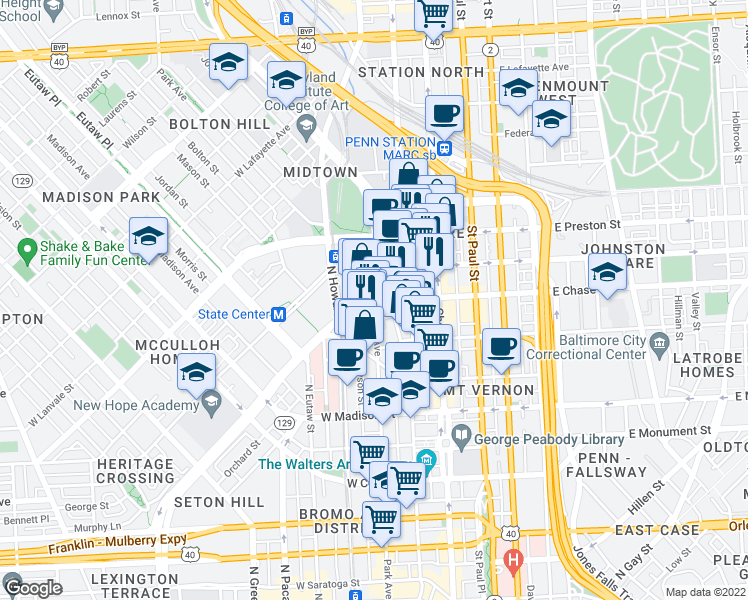map of restaurants, bars, coffee shops, grocery stores, and more near N Martin Luther King Jr Blvd & Park Ave in Baltimore